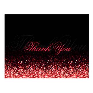 Cartão Postal Obrigado vermelho cintilante do preto do brilho