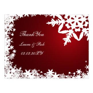 Cartão Postal obrigado vermelho do casamento no inverno você
