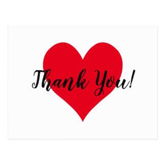 Cartão Postal Obrigado vermelho do coração você