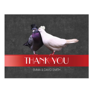 Cartão Postal Obrigado vermelho do quadro da fita dos pássaros