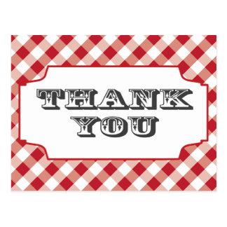 Cartão Postal Obrigado vermelho do teste padrão de Gringham você
