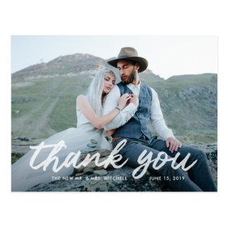 Cartão Postal Obrigado Wedding da foto da gratitude | de Boho