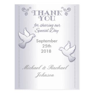 Cartão Postal Obrigado Wedding você pássaros do amor do vintage