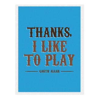 Cartão Postal Obrigados, eu gosto de jogar