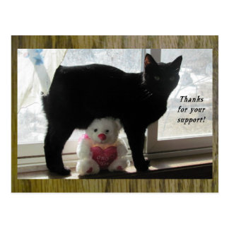Cartão Postal Obrigados para seus gato preto do apoio e urso de