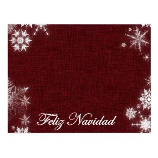 Cartão Postal Obscuridade de Feliz Navidad - vermelho e branco
