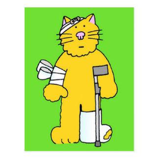 Cartão Postal Obtenha o gato bom do gengibre com ataduras.