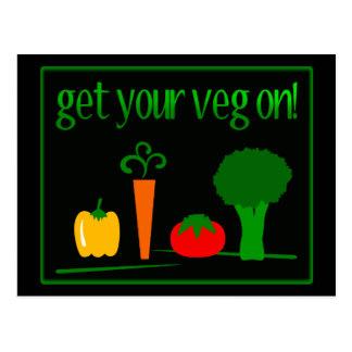 Cartão Postal Obtenha seu Veg sobre! Com vegetarianos Assorted