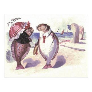 Cartão Postal Oceano do mar da praia do casal dos peixes