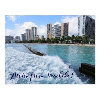 Cartão Postal Oceano Pacífico de Honolulu Havaí da praia de