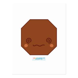 Cartão Postal Octagon de Kawaii Brown
