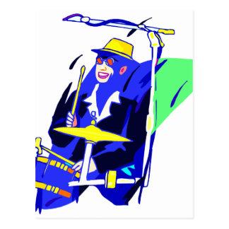 Cartão Postal Óculos de sol do baterista azuis e gráfico amarelo