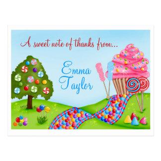 Cartão Postal Oh cupcakes e pirulitos doces da terra dos doces