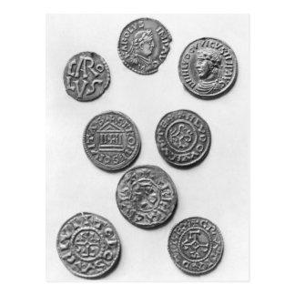 Cartão Postal Oito moedas de Carolingian
