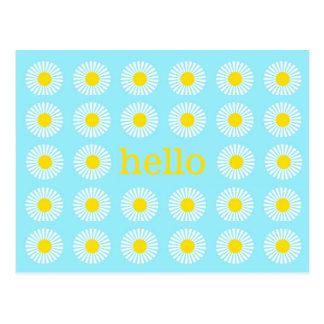 Cartão Postal Olá! azul e amarelo da margarida do verão