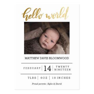 Cartão Postal Olá! foto recém-nascida do anúncio do nascimento