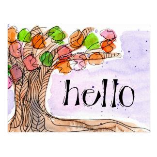 Cartão Postal Olá! & obrigado - aguarela frondosa da árvore do