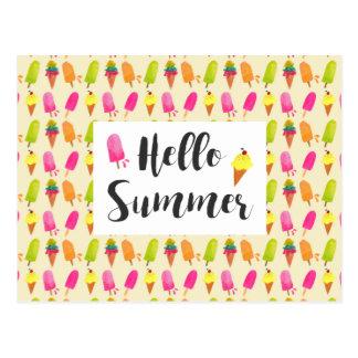Cartão Postal Olá! Popsicles e sorvete do verão
