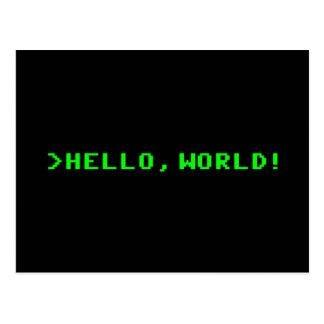 Cartão Postal Olá! programação informática do mundo