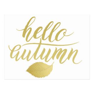 Cartão Postal Olá! roteiro da escova do ouro do falso de Atumn |