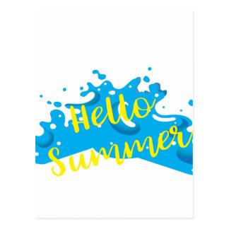 Cartão Postal Olá! verão, gráfico das ondas, branco legal