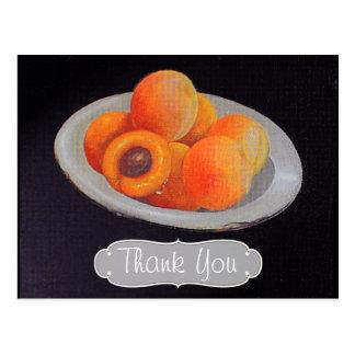 Cartão Postal Óleo no obrigado dos pêssegos das canvas você