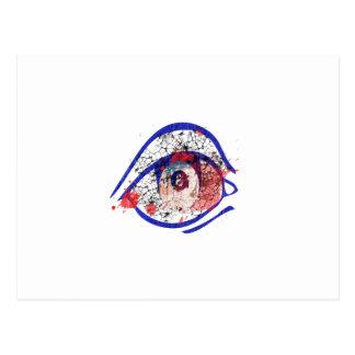 Cartão Postal Olho Bloodshot azul com rachaduras