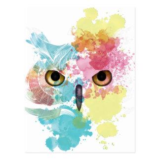 Cartão Postal Olho bonito da coruja animal da fantasia de