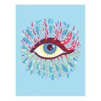 Cartão Postal Olho psicadélico azul estranho dos rasgos