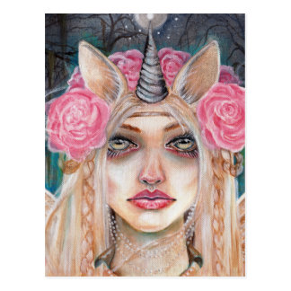 Cartão Postal Olhos do ouro de w da rainha do unicórnio