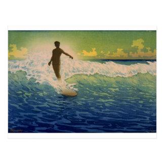 Cartão Postal Onda da equitação do surfista, Havaí