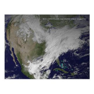 Cartão Postal Onda fria norte-americana do Vortex 2014 polares