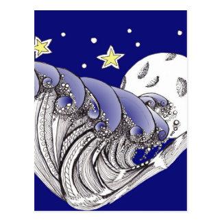 Cartão Postal Ondas e Lua cheia do azul
