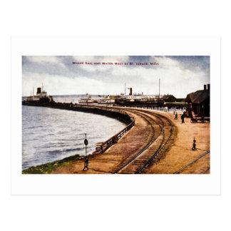 Cartão Postal Onde o trilho e a água se encontram, St. Ignace,