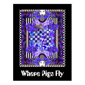 Cartão Postal Onde os porcos voam