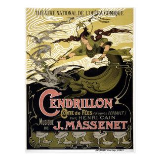 Cartão Postal Ópera francesa Paris de Cendrillon Cinderella do