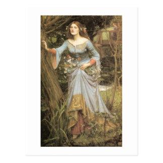 Cartão Postal Ophelia com um buquê