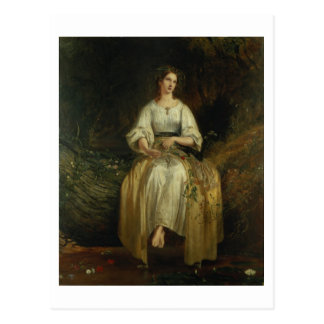 Cartão Postal Ophelia que tece suas festões, 1842 (óleo no