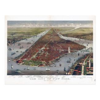 Cartão Postal Opinião aérea a Nova Iorque (1884)