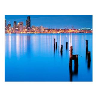 Cartão Postal Opinião azul da hora de Seattle do centro