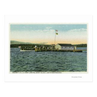 Cartão Postal Opinião da aterragem do acampamento da ilha de