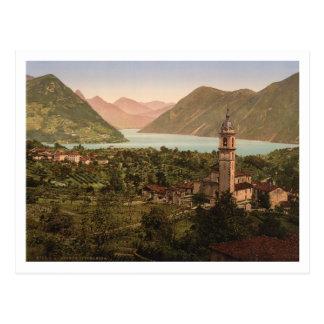 Cartão Postal Opinião da cidade de Porlezza, Lombardy, Italia