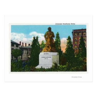 Cartão Postal Opinião da estátua de Nathaniel Hawthorne