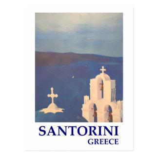 Cartão Postal Opinião da piscina de Santorini do estilo do
