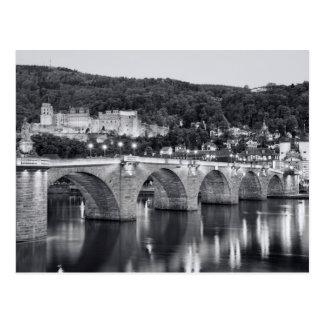 Cartão Postal Opinião de Heidelberg no tempo da noite