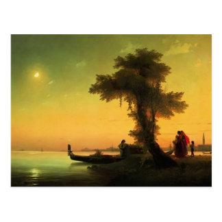 Cartão Postal Opinião de Ivan Aivazovsky- na lagoa de Veneza