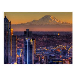 Cartão Postal Opinião do centro de Seattle, futebol da