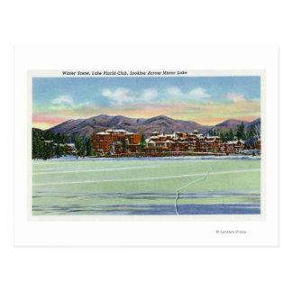 Cartão Postal Opinião do lago mirror o clube do Lake Placid