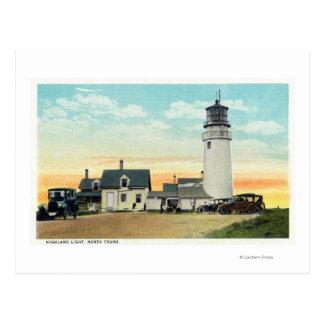 Cartão Postal Opinião norte do farol das montanhas de Truro