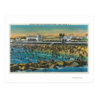 Cartão Postal Opinião os nadadores nos banhos de Washington
